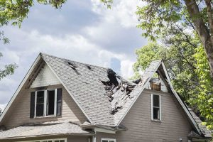 Collapsed roof needing restoration