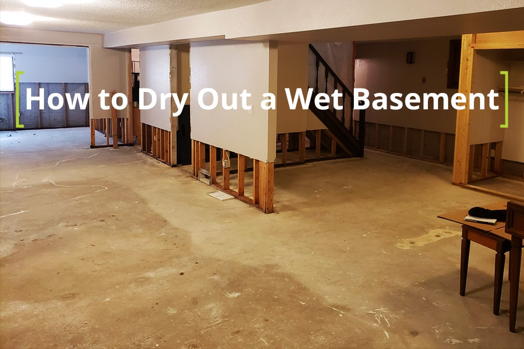 A wet basement drying from 970 Services