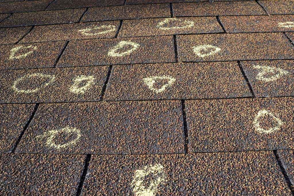 Hail damage points on roof