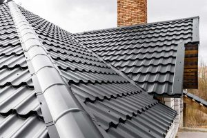 Dark metal roof in summer heat
