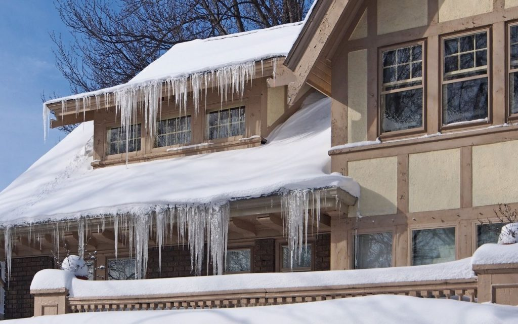 Extreme icicles on home gutters