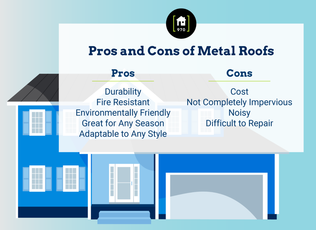 Infographic on the pros and cons of metal roofing