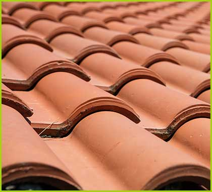 Ceramic shingles on roof
