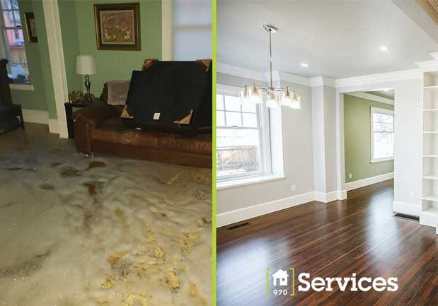 Water damage restoration before and after